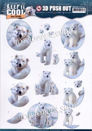 Keep it Cool Polar Bears Die Cut Decoupage Sheet Amy Design Push Out SB10306
