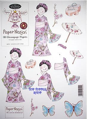 KIMONO LADY 1 PINK, PAPER NATION A4 SBS DECOUPAGE SHEET
