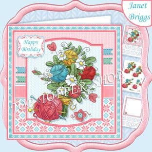 KNITTING BOUQUET  7.5 Decoupage Card Kit digital download