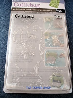LARGE CUTTLEBUG EMBOSSING FOLDER * STYLIZED FLOWERS *