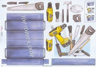 Large Tool Set Stand Up Card & Decoupage Sheet  Requires Cutting 020