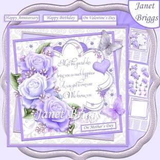LAVENDER ROSES & VERSE 7.5 Decoupage  Card Kit digital download
