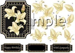 LILIES CREAM ON BLACK decoupage sheet 309