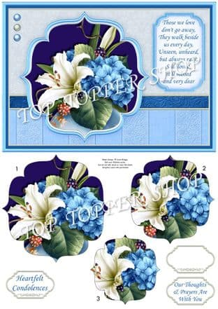 Lily & Hydrangea Sympathy Verse A5 Quick Pyramage Printed Sheet 927mb
