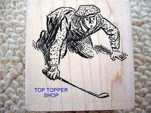 LINING UP THE PUTT  GOLF RUBBER STAMP P1316F