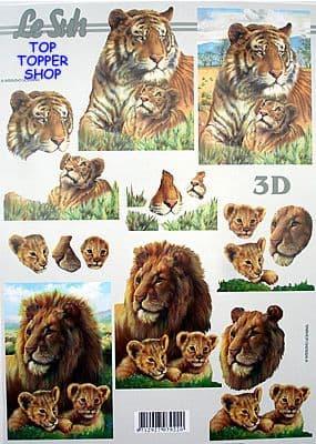 LION, TIGER & CUBS DECOUPAGE SHEET LE SUH 44