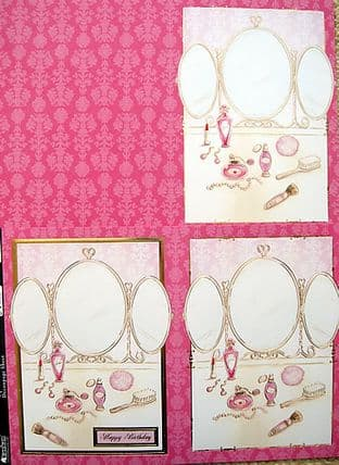 LIPSTICK & POWDER DIE CUT DECOUPAGE CARD KIT KANBAN 9184