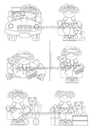 Little Pals Boutique Day Digi Stamps Printed Sheet