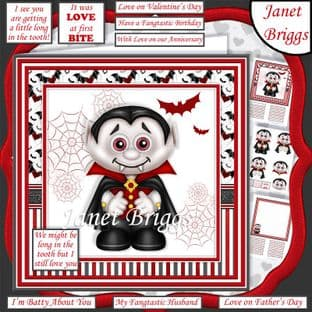 LONG IN THE TOOTH Humorous Dracula 7.5 Decoupage Card Kit digital download