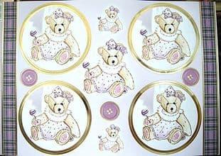 LOVABLE TEDDIES LUCY BEAR DIECUT CARD TOPPERS KANBAN