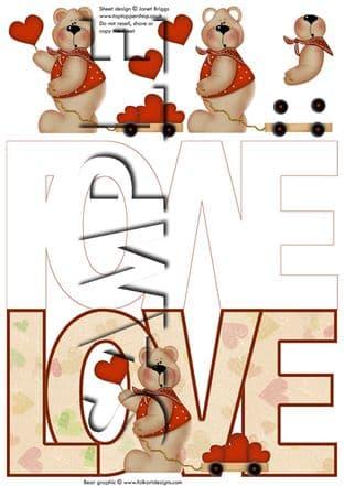 LOVE BEAR SHAPE CARD OR TOPPER printed sheet