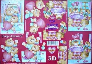 LOVE BEARS DECOUPAGE SHEET LE SUH r431