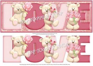 LOVE BEARS Large DL Word Card & Decoupage printed sheet 362