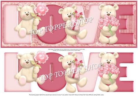 LOVE BEARS Large DL Word Card & Decoupage printed sheet 362