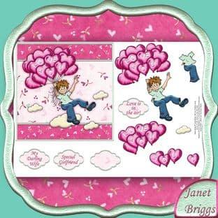 LOVE YOU BALLOONS Topper & Decoupage printed sheet