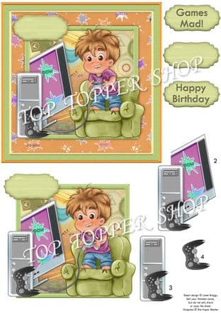 Mad About Video Games Decoupage Card  Kit digital download 937PS