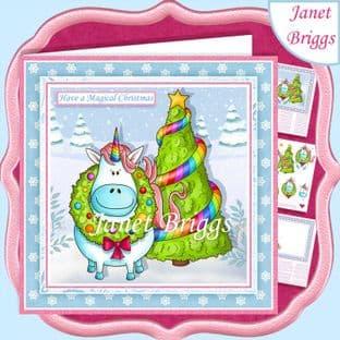 MAGICAL CHRISTMAS UNICORN 7.5 Decoupage Card Kit digital download