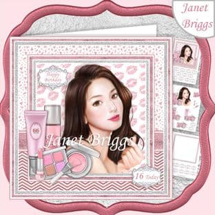 MAKEUP GIRL 7.5 Decoupage Card Kit digital download