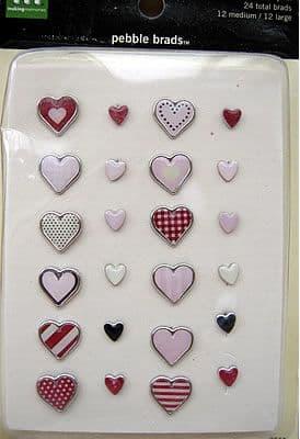 MAKING MEMORIES PEBBLE BRADS ' HEARTS, RED & PINK'