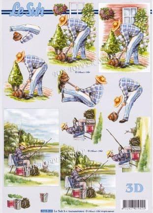 Male Fishing & Gardening Decoupage Sheet  Requires Cutting 8215.203