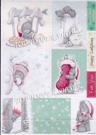 Me To You Tatty Teddy A4 Glittered Die Cut  Christmas Toppers Peppermint Cream 2pk 373400