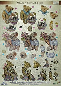 MEADOW COTTAGE BEARS DUFEX DIE CUT DECOUPAGE SHEET 248709