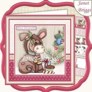 MERRY CHRISTMASS 7.5 Christmas Decoupage Card Kit digital download
