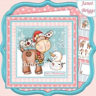 MERRY CHRISTMOOSE 7.5 Christmas Decoupage Card Kit digital download