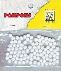 Mini Pom Poms  3mm  White 100 pcs