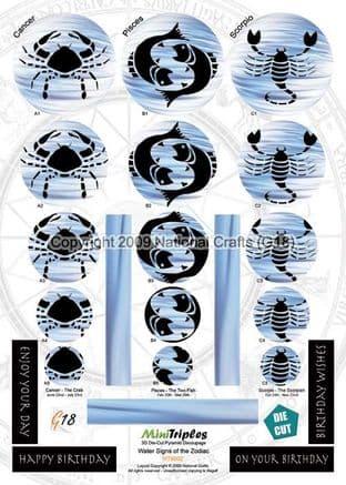MINITRIPLES - WATER SIGNS OF THE ZODIAC - DIE CUT PYRAMID DECOUPAGE G18