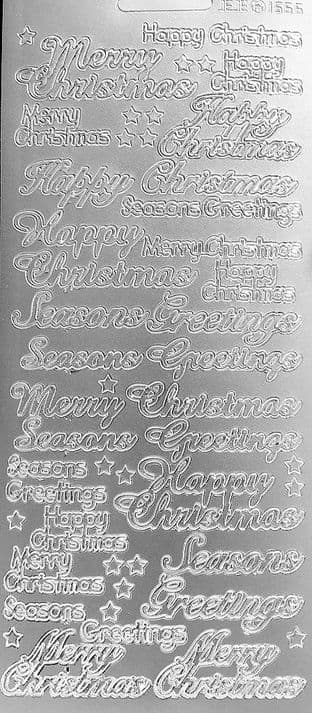 Mixed Christmas Greetings Silver Peel Off Stickers JeJe 1566