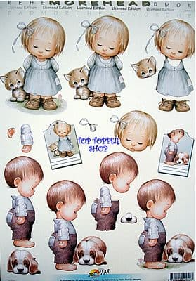 MOREHEAD DECOUPAGE 40 GIRL & KITTEN, BOY & PUP