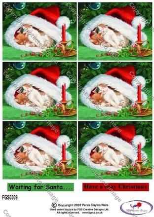 MULTI IMAGES CHRISTMAS KITTENS FGS DECOUPAGE 0309