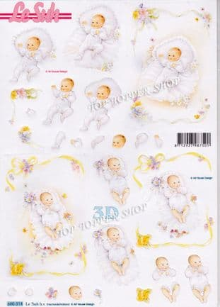 New Baby A4 Die Cut Decoupage Sheet Le Suh 680.018