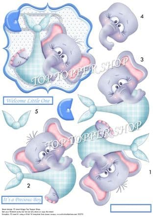 New Baby Boy Eli Decoupage printed sheet