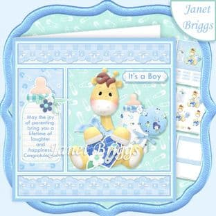 NEW BABY BOY GIRAFFE 7.5 Decoupage Card Kit digital download