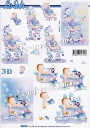 New Baby Boy Giraffe & Bath Le Suh Decoupage Sheet  Requires Cutting 4169721