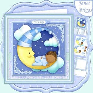 NEW BABY BOY ON MOON Ethnic  8x8 Decoupage Card Kit digital download