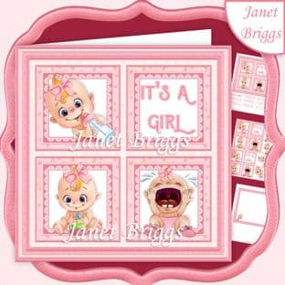 NEW BABY IT'S A GIRL SQUARES 7.5 Decoupage Card Kit digital download