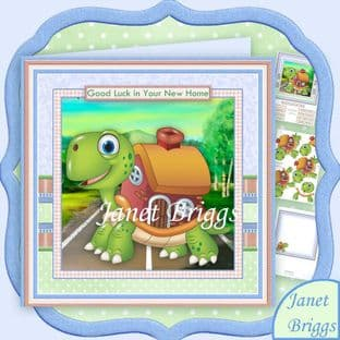 New Home Tortoise 8x8 Decoupage Card Kit digital download