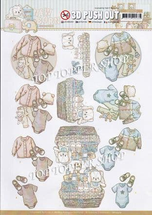 Newborn Baby Clothes Die Cut Decoupage Sheet Yvonne Creations Push Out SB10520