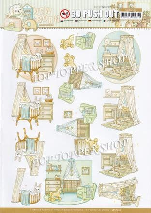 Newborn Baby Cradle Die Cut Decoupage Sheet Yvonne Creations Push Out SB10522