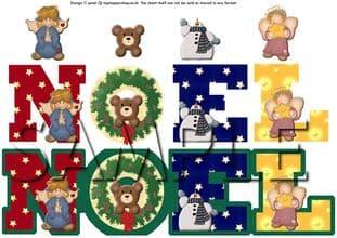 NOEL CHRISTMAS SHAPED DECOUPAGE  SHEET