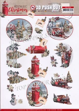 Nostalgic  Christmas Train A4 Die Cut Decoupage Sheet Amy Design Push Out SB10485