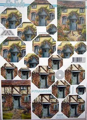 NOSTALGIC COTTAGE PYRAMID DECOUPAGE SHEET LE SUH 038