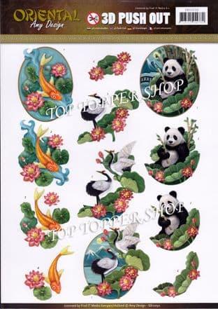 Oriental Animals Die Cut Decoupage Sheet Amy Design Push Out SB10250