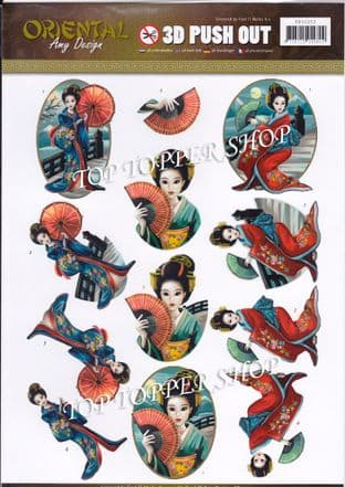 Oriental Geishas Die Cut Decoupage Sheet Amy Design Push Out SB10252