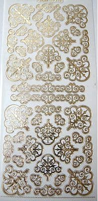 ORNATE CORNERS GOLD ON TRANSPARENT DOODEY DOUBLE EMBOSSED PEEL OFFS 356755