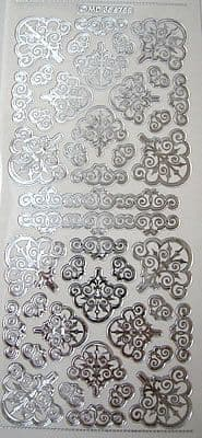 ORNATE CORNERS SILVER ON TRANSPARENT DOODEY DOUBLE EMBOSSED PEEL OFFS 356755