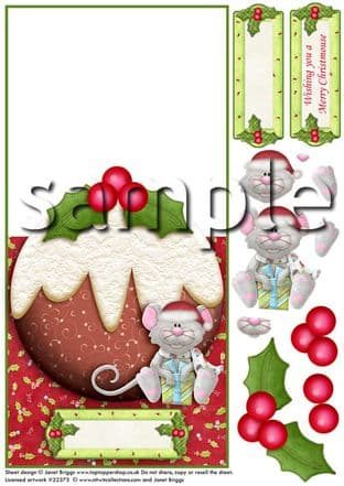 OVER THE EDGE CARD CHRISTMAS PUDDING and MOUSE  printed sheet